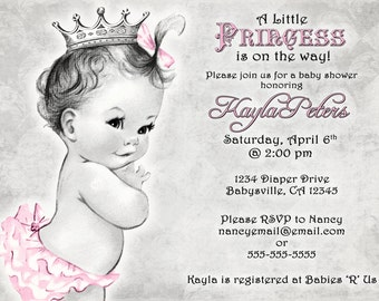 Vintage Baby Shower Invitation For Girl - Princess - Crown - Pink and Grey - Pink and Gray - DIY Printable