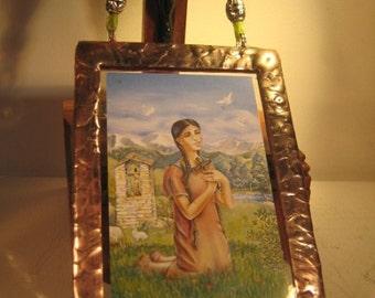 Saint Kateri Tekakwitha Lily of the Mohawks Stained Glass Holy Prayer Card Keepsake