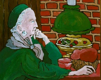 Art Print of Original Acrylic Painting - Red Gold and Green by Patty Fleckenstein-Old Woman ,Restaurant,Stylized,Wall Art,Room decor