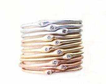 Delicate Diamond Ring, Stacking Ring, Slim Band, Midi Ring, Diamond Bands, Simple Diamond Ring, Small Diamond Ring, Gold Ring, Organic,Nixin