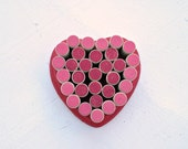 Heart Wine Cork Bulletin Board for your Valentine or Wedding - Pink and Red