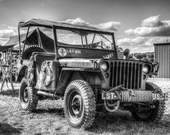 WW2 Willy's Jeep, Black and White Fine Art Photography