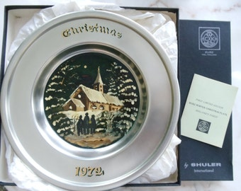 Kurz Pewter First Limited Edition Christmas Plate 1972 // 343 //