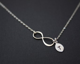 Infinity necklace with initial leaf, STERLING SILVER  figure 8 necklace, simple necklace, Mother's Day gift, birthday gift ,Christmas gift