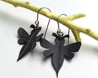 Honey Bee Earrings - eco friendly recycled bike inner tube - black bee / hornet / wasp