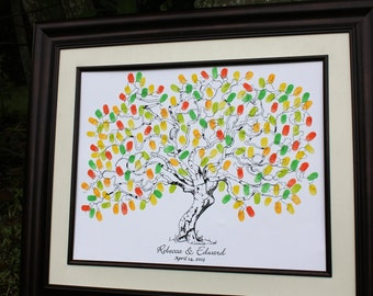 Guest Book Ideas Unique Wedding Guest Book Alternatives Thumbprint Wedding Tree Hand sketched fingerprint tree Fall Wedding Thumb Print Tree