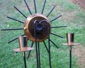 Pair of Metal Starburst Wall Candle Sconces