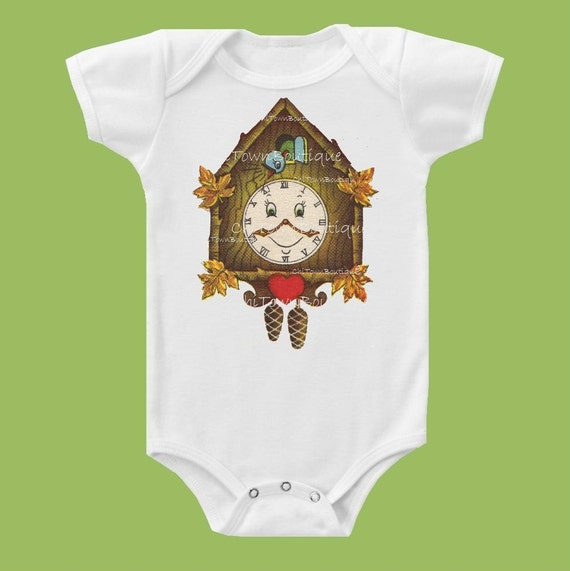 Vintage Cuckoo Clock, One Piece, Baby Bodysuit, Toddler TShirt, Baby Gift, Baby Shower, Birthday shirt by ChiTownBoutique.etsy