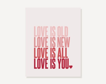 Beatles Quote Art Print (Pink Ombre) - Wedding Baby Girl Nursery -  Love Is Old Love Is New Love Is All Love Is You