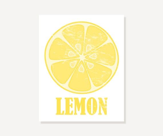 Kitchen Art: Lemon Slice Art Print // Vintage Look Illustration Poster // Yellow