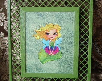Arielle, Moss Fairy III, upcycled wall decor, Moss green, wall hanging