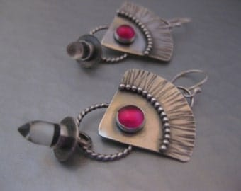 Sterling Silver Triangle Earrings with Ruby cabochon and crystal quartz Bullet