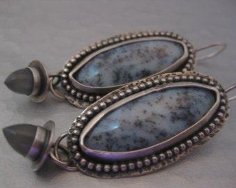 Handmade Australian Moss Agate and Black Moonstone Bullet Sterling Silver Earrings