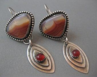 Agua Nueva Agate and carnelian Sterling Silver Earrings