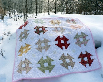 modern traditional churn dash monkey puzzle baby quilt