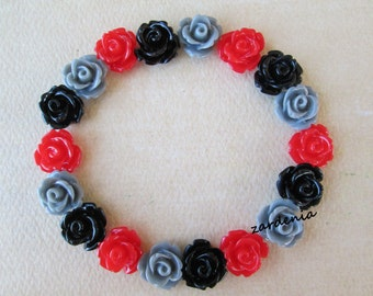 18PCS - Mini Rose Flower Cabochons - 10mm - Resin - Red, Black and Gray