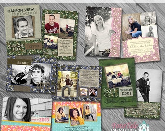 Camouflaged Senior Graduation Announcement Collection- Set of 5 custom photo templates for photographers on WHCC, Miller's Lab and PDP Spec