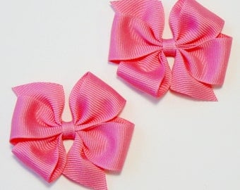 Little Girls Hair Bow Set  Small Toddler Childrens Kids Boutique  Fashion Hair Clip Hairbows Hair Accessories (Set of 2) Choose Colors