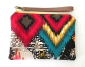 Colorful Aztec pattern,fabric zippered wristlet,pouch,clutch,make up bag