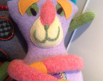 Recycled Cashmere Sweater Stuffed Cat in Lavender
