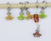 Stitch Markers, Little Flowers, Beaded, Silver Rings, Set of 5, Knit, Crochet, Green Yellow or Pink Purple, Fit up to US 10.5, 6.5mm needles