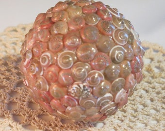 Sea Shell Decorative Ball:  Large (Pink Shells)