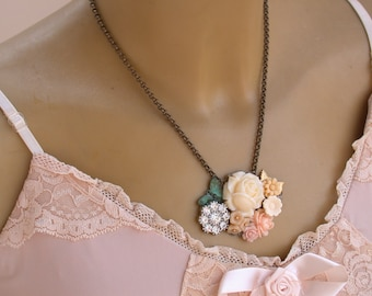 Flower Necklace Vintage Necklace Shabby Chic Perfect for Bride, Wedding, Bridesmaids And Formal, Something Old Flower Girls