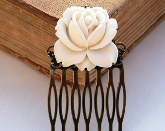 Hair Comb White Hair Comb Cream White Rose Hair Comb  Antique Victorian Style Bridal Jewelry