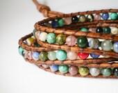 GEMSTONE Wrap Bracelet Skull Button Gemstone Jewelry Rustic Jewelry skull jewelry