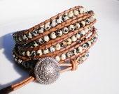5X Leather Wrap Beaded Cuff Bracelet Dalmatian Jasper