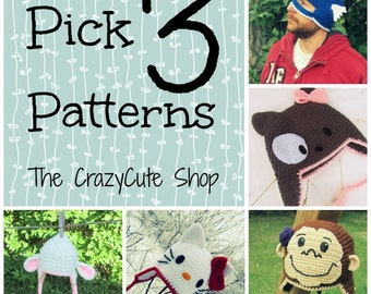 CROCHET PATTERN Choose 3 Patterns