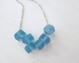 Blue Recyled Glass Necklace - Blue Glass Rondelle Beaded Pendant Necklace Silver Chain