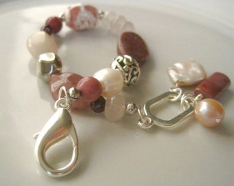 Pink Artisan Bracelet Mixed Stones and Pearls