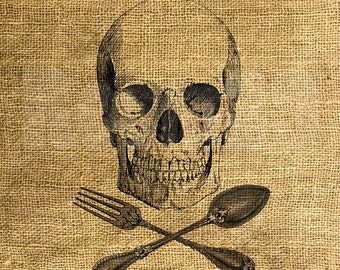 INSTANT DOWNLOAD - Skull with Fork and Spoon - Image Transfer - Digital Collage Sheet by Room29 - Sheet no. 1099