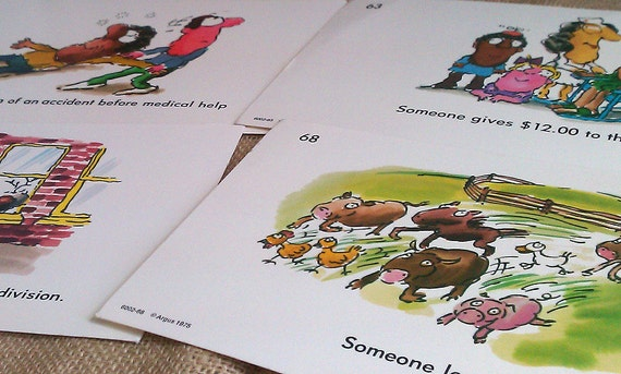 Collection of 16  vintage1970s Classroom Flash Cards teaching morals
