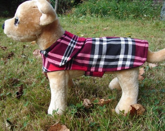 Dog Jacket - Red Plaid Corduroy Plaid Coat- Size XX Small- 8 to 10 Inch Back Length
