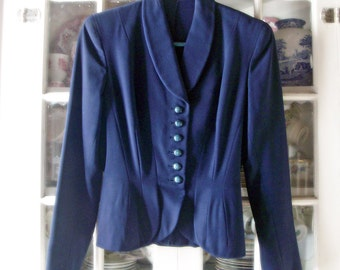 SALE Vintage 1940's Tailored Navy Jacket