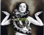Digital Vintage Snake Charmer Girl Photo