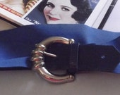 Vintage 1980s Belt Stretch Deep Blue Faux Lizard Embossed Leather Gold Tone Buckle