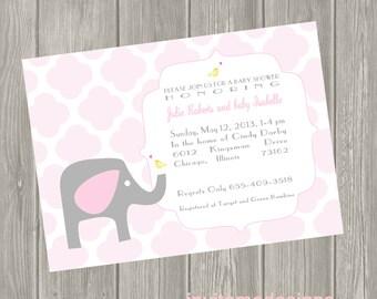 Elephant Baby Shower Baby Girl or Boy Invitation Birth Announcement
