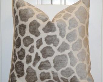 Decorative Pillow Cover - Animal Print - Giraff Motif - Accent Pillow - Grey Brown - Cushion