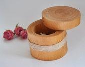 birch wood ring box for wedding decor •  ring bearer pillow •  ring box