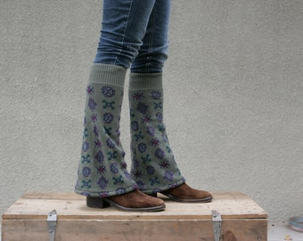 Upcycled Recycled Repurposed Sweater Leg Warmers Olive Green Geometric Fall Winter Fashion