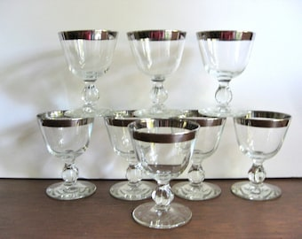 Reduced .... Set of Eight Silver Rimmed Cocktail Glasses / Swanky