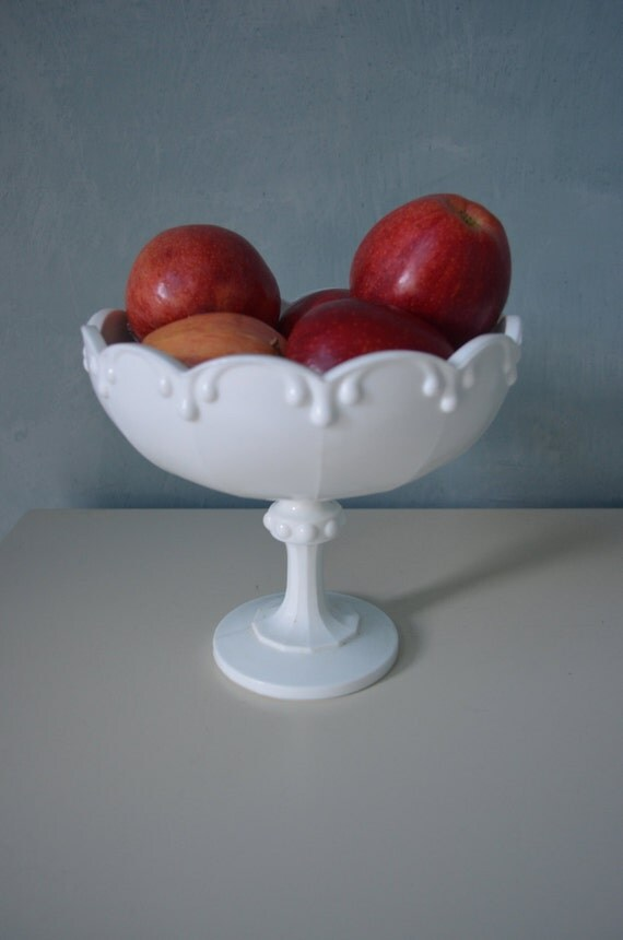 Glass Pedestal Centerpiece : Vintage white milk glass pedestal bowl compote dish