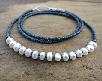 Dainty Freshwater Pearl Necklace, rustic gray and white beaded pearl jewelry, June birthstone necklace with seed beads