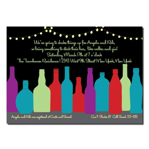 stock the bar invitation couples shower or engagement party, Party invitations