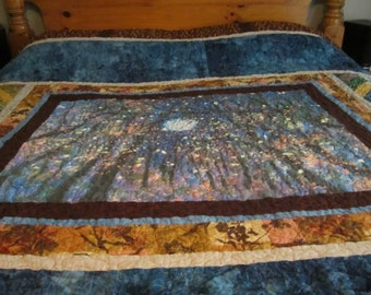 Queen Size Quilt  Custom Design  Night Forest Quilt