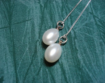 Fresh Water Pearls on Sterling Silver Ear Threads-Threader Earrings-Necklace-genuine pearls-FREE SHIPPING To U.S.-