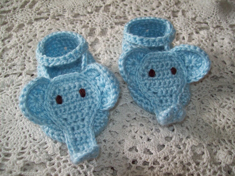 Hand Crochet BLUE ELEPHANT BOOTIES Infant Baby Boy Unique Baby